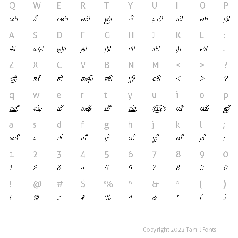 Character Map of TAM-Nambi Italic