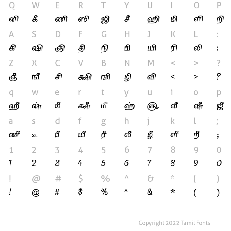 Character Map of TAM-Tamil123 Normal